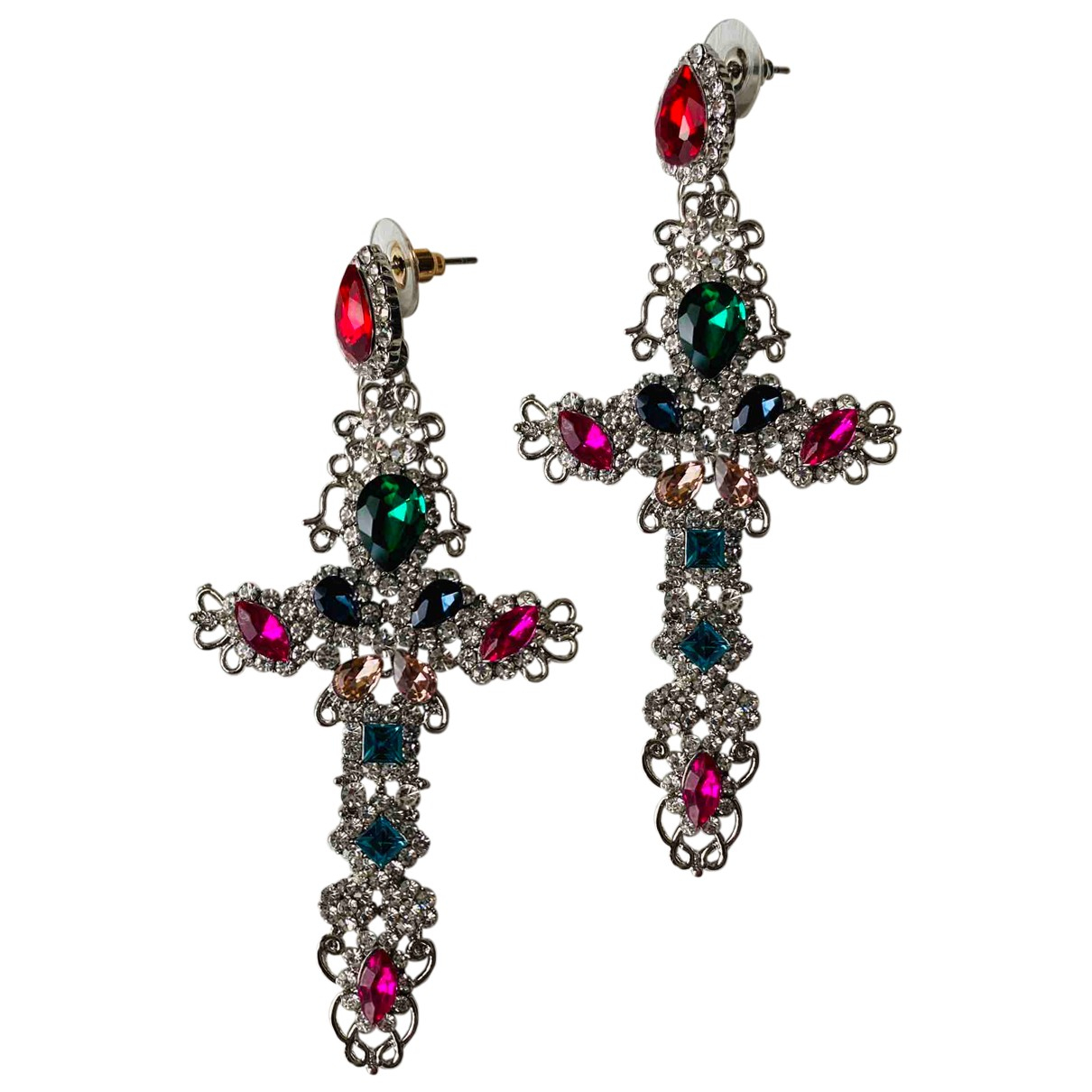 Non Signé / Unsigned Croix Multicolour Metal Earrings for Women N