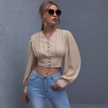 Button Front Ruched Detail Crop Blouse