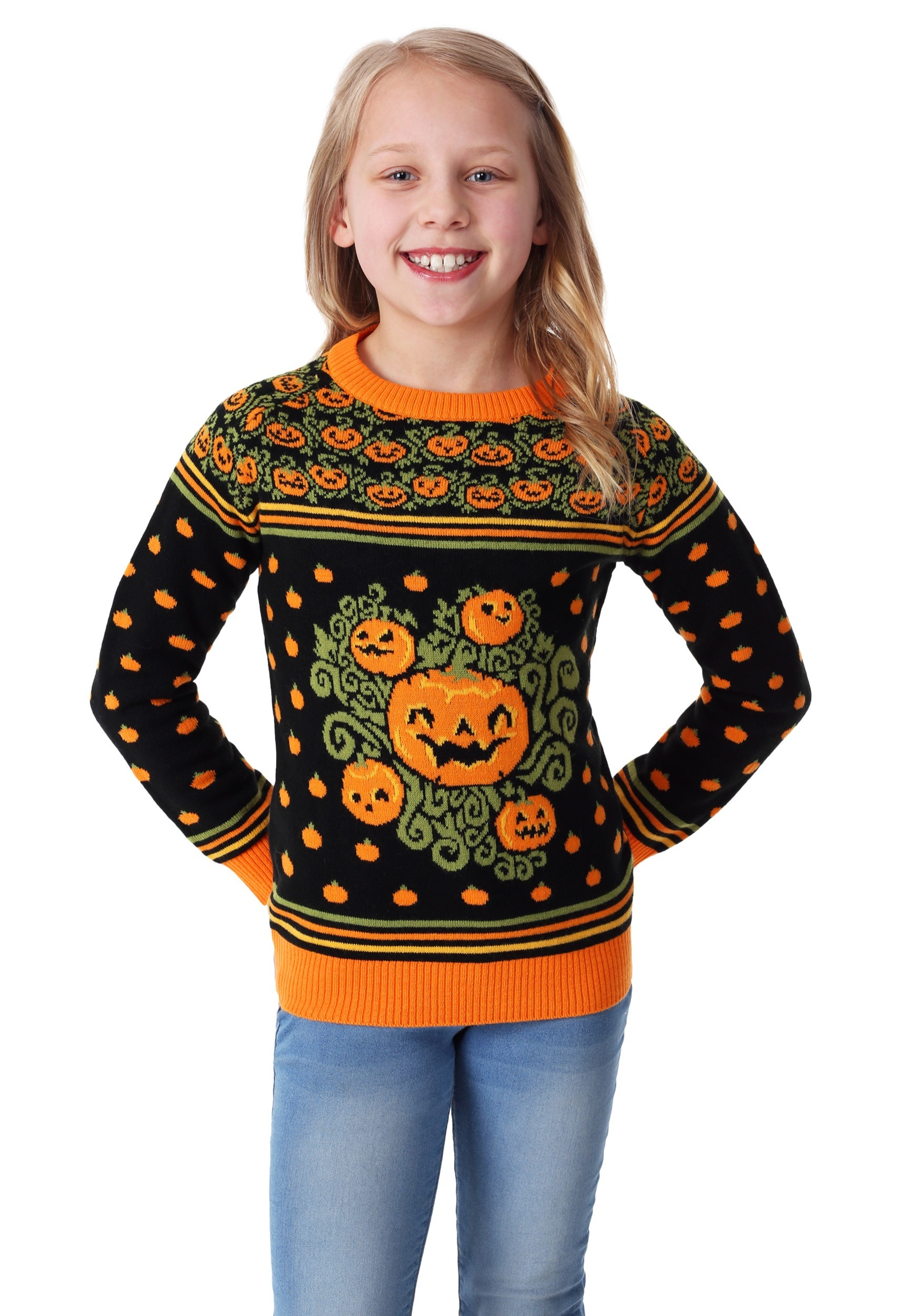 Child Pumpkin Patch Halloween Sweater