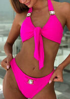 Shiny Rhinestone Tie Halter Bikini Set without Necklace - Rose Red