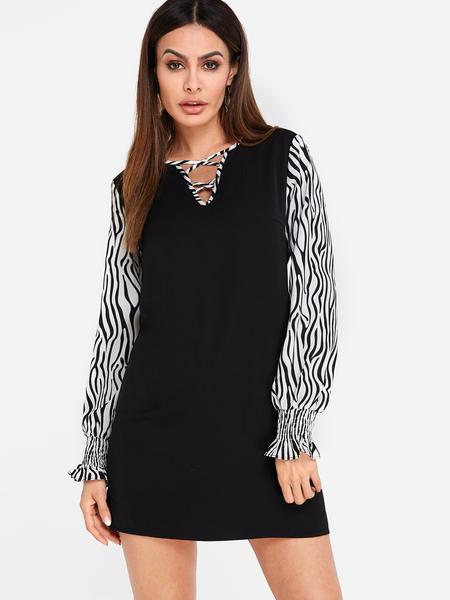 Yoins Black Criss-cross Zebra Pattern Long Sleeves Mini Dress