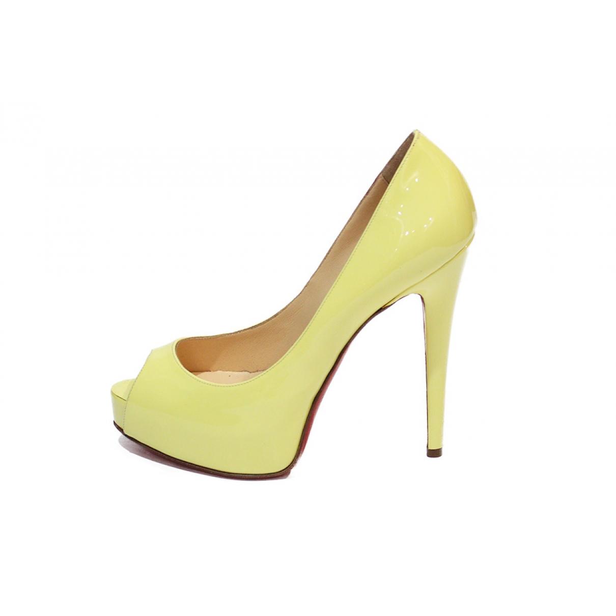 Christian Louboutin - Escarpins Very Prive pour femme en cuir - jaune