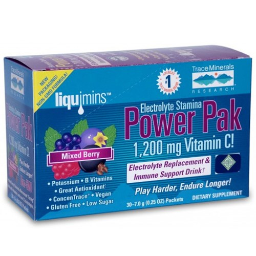 Electrolyte Stamina Power Pak Non-GMO Mixed Berry 1 Pack by Trace Minerals