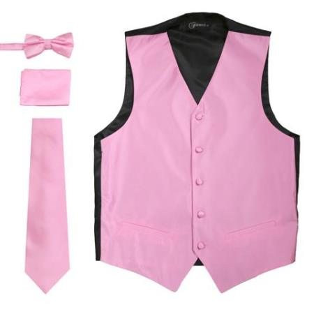Mens 4PC Big and Tall Vest & Tie & Bow Tie and Hankie Solid Rose