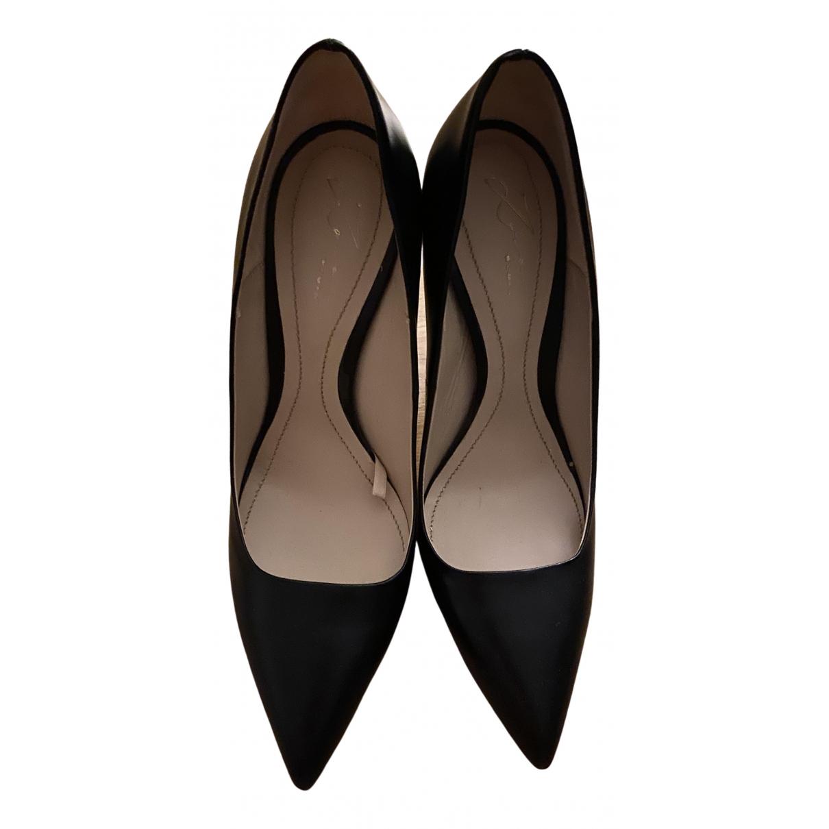 Zara \N Black Leather Heels for Women 40 EU