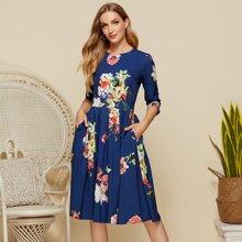 Simple Flavor Zip Back Pocket Detail Floral Flare Dress