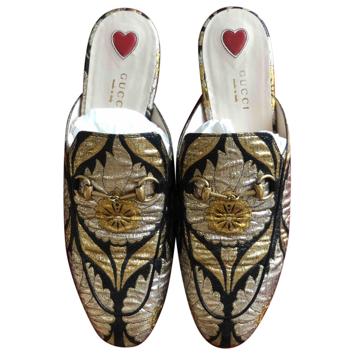 Gucci Princetown Gold Cloth Flats for Women 38.5 EU