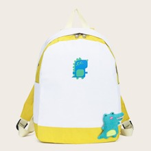 Cartoon Graphic Colorblock Backpack