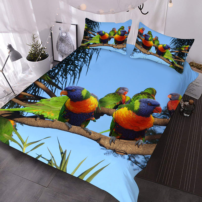 A Flock of Colorful Parrots Standing On The Treetops 3D Printed 3-Piece Polyester Comforter Sets