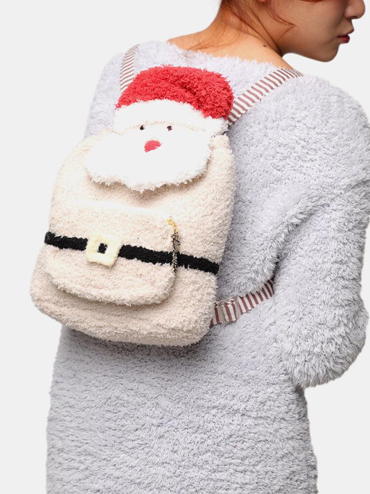 Women Plush Christmas Santa Backpack