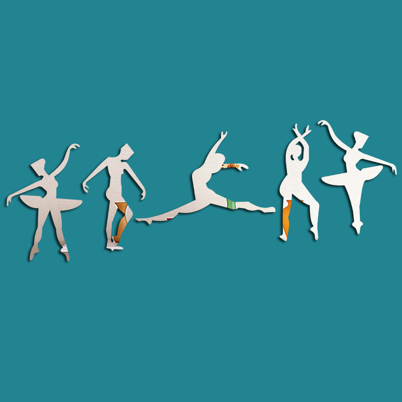 Ballet Figure Pattern 3D Acrylic 3 Color TV And Sofa Background Wall Stickers