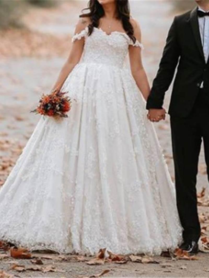 Ericdress Ball Gown Floor-Length Off-The-Shoulder Lace Garden/Outdoor Wedding Dress 2020