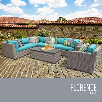 FLORENCE-08d-ARUBA Florence 8 Piece Outdoor Wicker Patio Furniture Set 08d with 2 Covers: Grey and