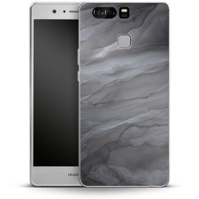 Huawei P9 Silikon Handyhuelle - Black Watercolour Marble von Becky Starsmore