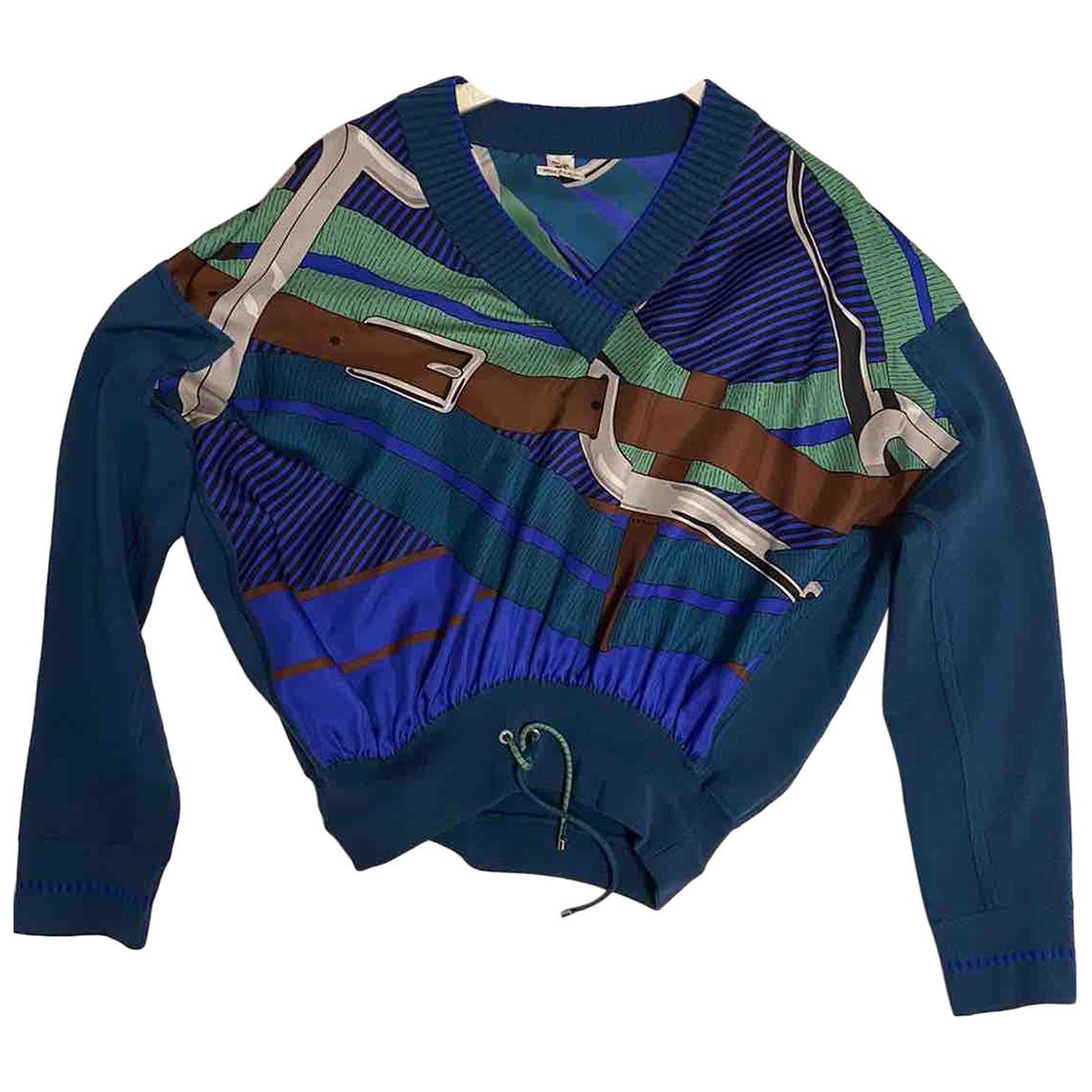 Hermes - Pull   pour femme en soie - bleu