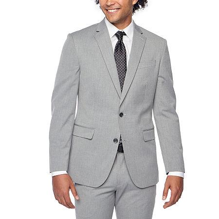JF J.Ferrar Light Gray Texture Mens Stretch Super Slim Fit Suit Jacket, 46 Long, Gray