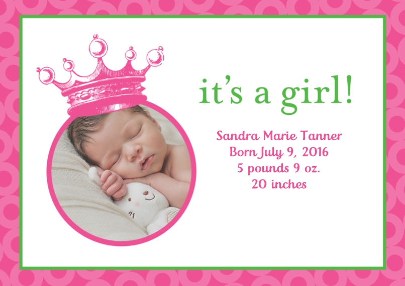 Newborn 5x7 Cards, Premium Cardstock 120lb with Scalloped Corners, Card & Stationery -Posh Paper Princess Baby Crown