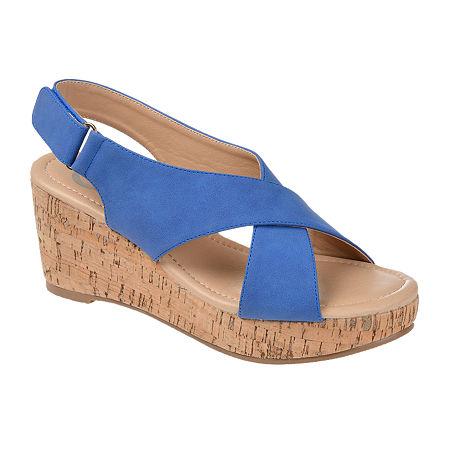 Journee Collection Womens Jenice Wedge Sandals, 5 1/2 Medium, Blue