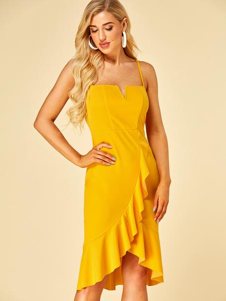 YOINS Yellow Adjustable Shoulder Straps Square Neck Sleeveless Dress