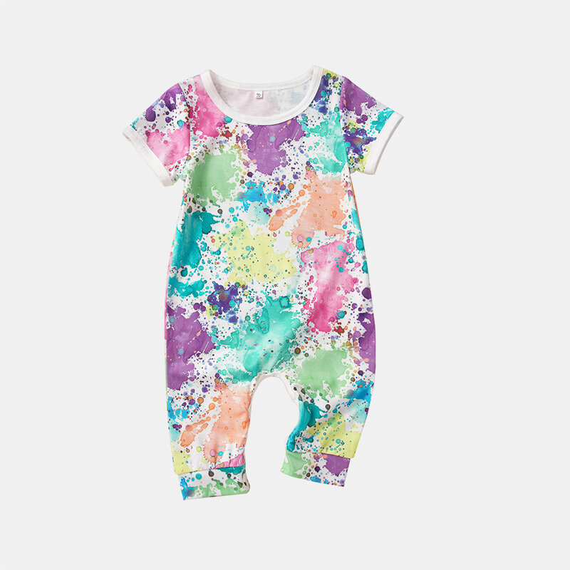 Baby Graffiti Colorful Short Sleeves Casual Rompers For 6-24M