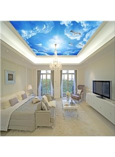 3D Doves Flying in Blue Sky Waterproof Sturdy Eco-friendly Self-Adhesive Ceiling Murals