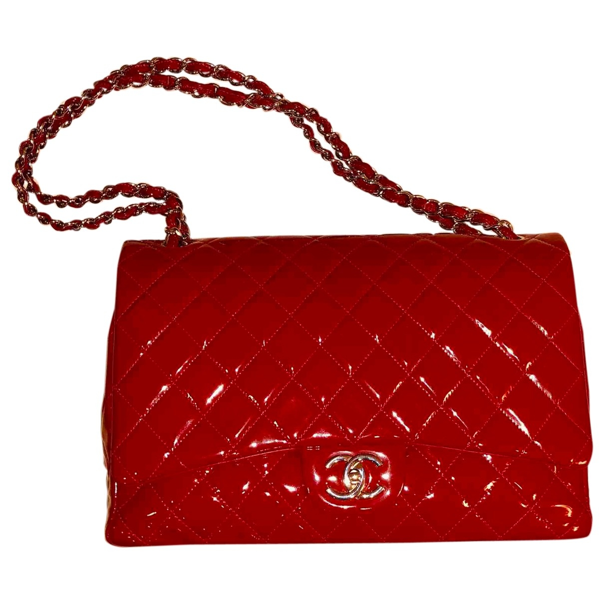 Chanel - Sac a main Timeless/Classique pour femme en cuir verni - rouge