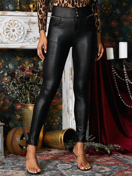 YOINS Black Zip Front Leggings