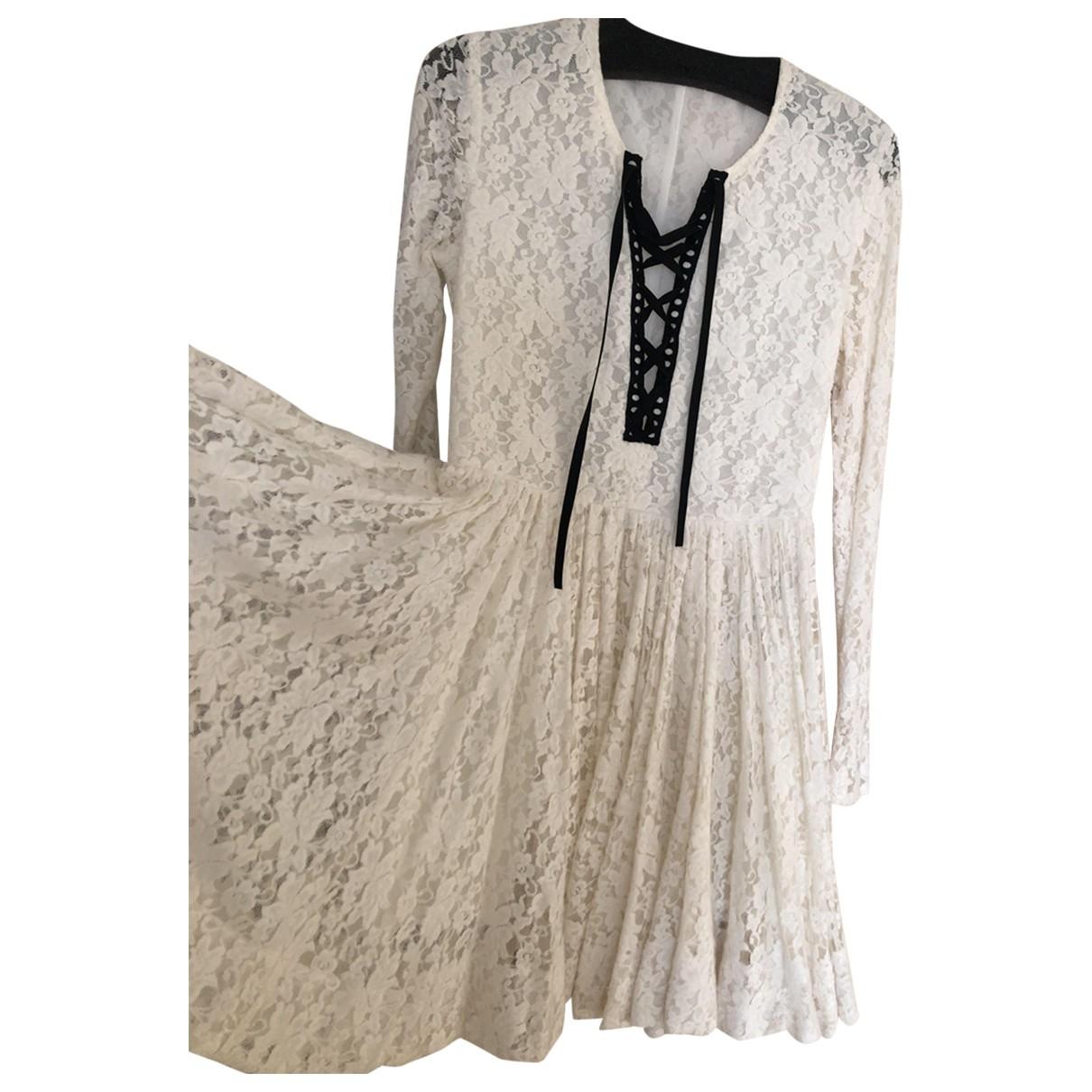 Maje \N Kleid in  Ecru Baumwolle - Elasthan