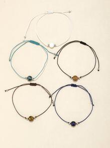 5pcs Natural Stone Decor String Bracelet