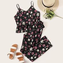 Cami PJ Set mit Blumen Muster und Raffungsaum