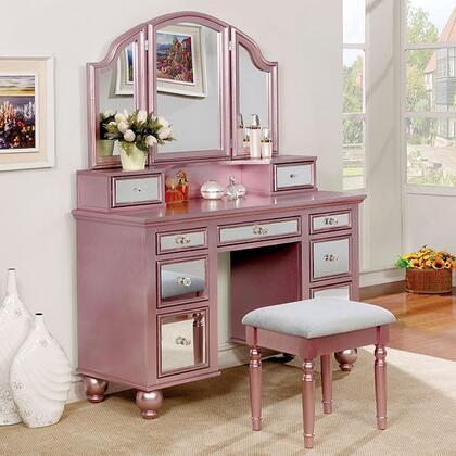 Tracy CM-DK6162RG Vanity  Mirror and Stool Set with Contemporary Style  Storage Drawers and 3mm Mirror Inserts in Rose