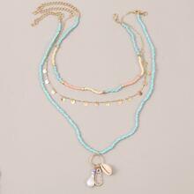 3pcs Shell Charm Beaded Necklace