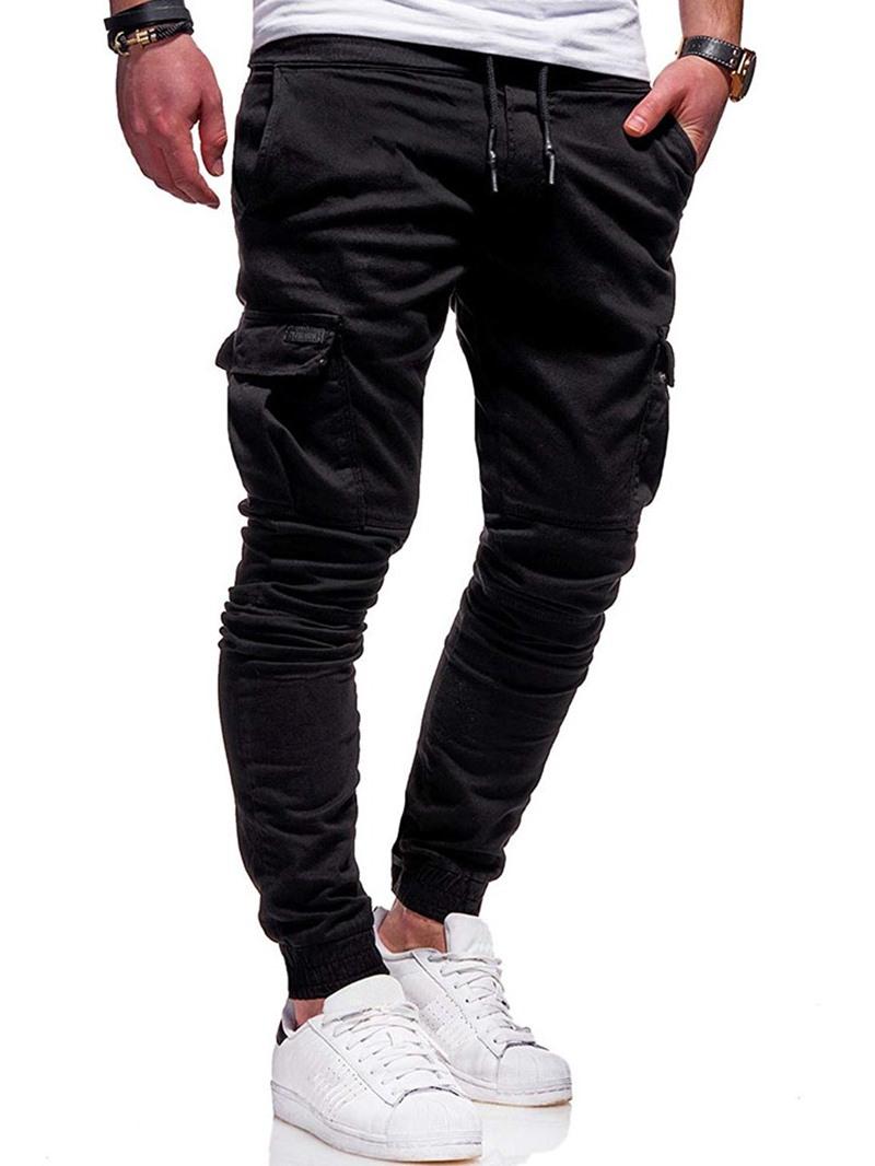 Ericdress Pocket Plain Lace-Up Casual Men's Pants