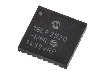 Microchip PIC18LF2520-I/ML, 8bit PIC Microcontroller, PIC18F, 40MHz, 32 kB, 256 B Flash, 28-Pin QFN