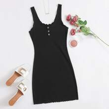 Sleeveless Buttoned Front Lettuce Trim Dress