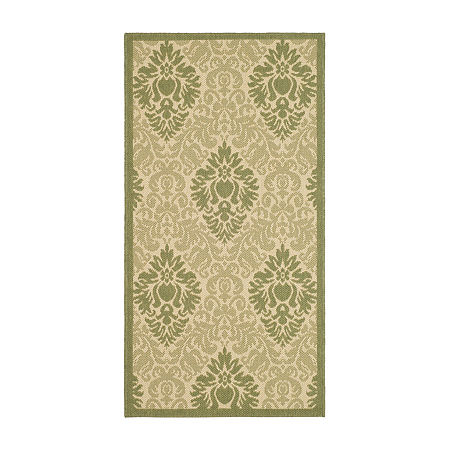 Safavieh Courtyard Collection Louise Damask Indoor/Outdoor Area Rug, One Size , Green