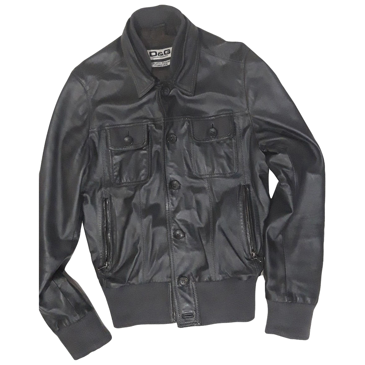 D&g \N Grey Leather jacket  for Men S International