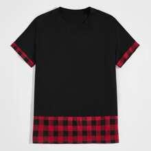 T-Shirt mit Kontrast Karo Muster und kurzen Ärmeln