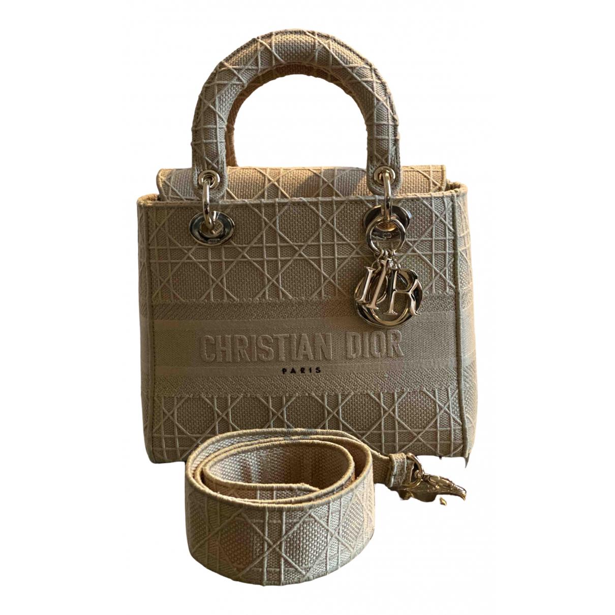 Dior - Sac a main Lady Dior pour femme en coton - beige