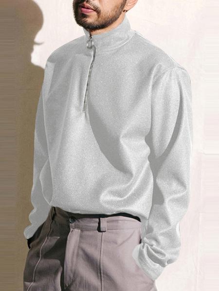 Yoins INCERUN Men Casual Half High Neck Zipper Plain Sweatshirt