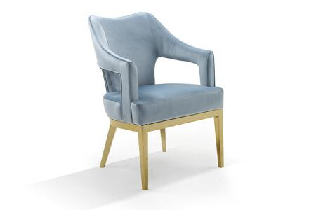 Hebe Collection FAC9106-AC Accent Chair with Gold Tone Solid Metal Tapered Legs  Swoop Arm Design  Contemporary Style  Plush Multi Density Foam