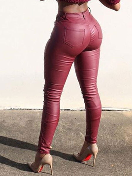 Milanoo Leather Like Leggings Women Skinny Leggings With Pockets