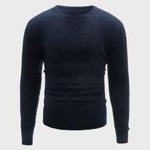 Strick Pullover mit rundem Kragen