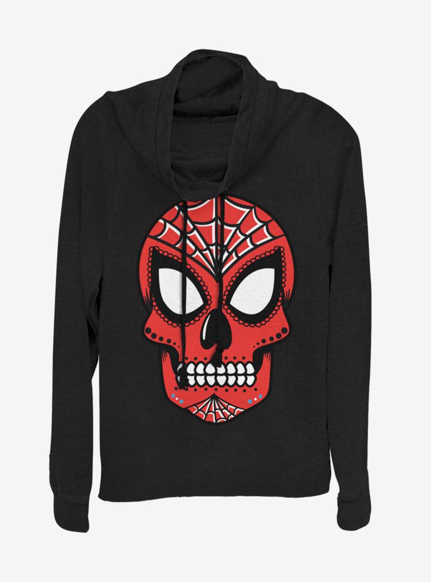 Marvel Spider-Man Sugar Skull Cowlneck Long-Sleeve Womens Top