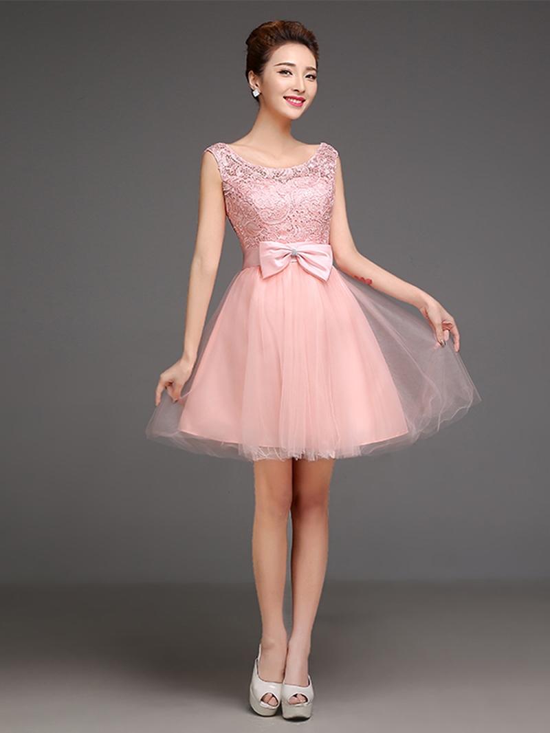 Sweet Cap Sleeves Bowknot Short/Mini Junior Prom Dress