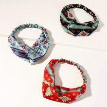 3 Stuecke Kopfband mit Blumen Muster