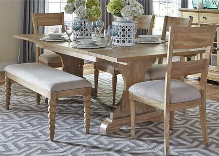 Harbor View Collection 531-DR-6TRS 6-Piece Dining Room Set with Trestle Table  Bench and 4 Slat Back Side Chairs in Sand
