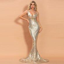 Fishtail Hem Maxi Sequin Bodycon Prom Dress