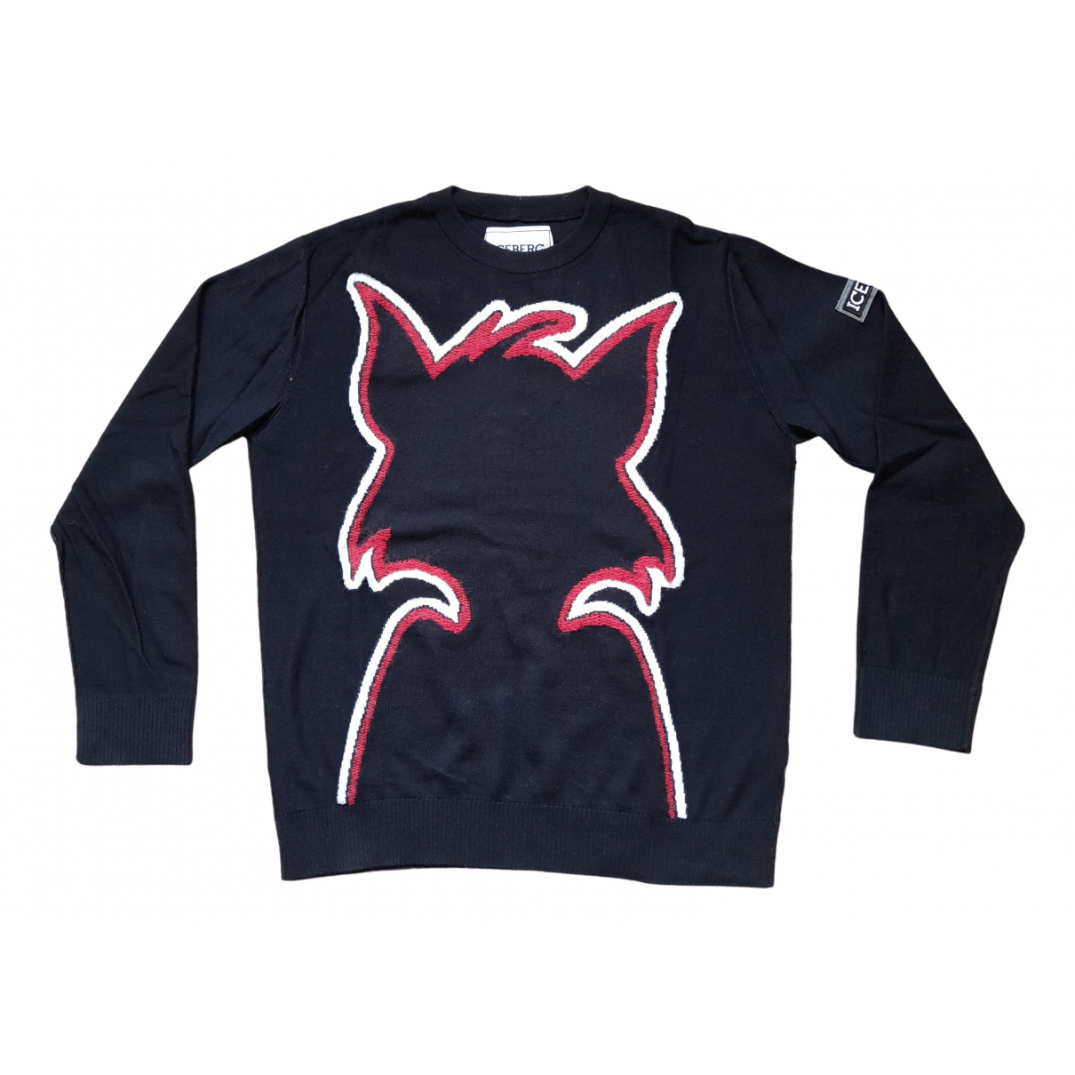 Iceberg N Black Wool Knitwear & Sweatshirts for Men M International