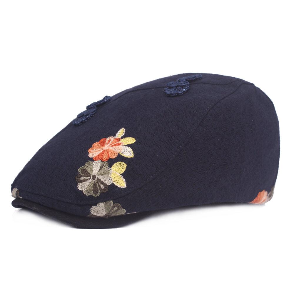 Women Vintage Folk-custom Frog Cotton Berets Caps Casual Sunshade Forward Cap